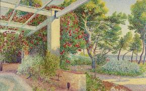 Картинка пейзаж, картина, Беседка, пуантилизм, Louis Gaidan
