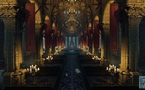 Картинка колонны, зал, Cathedral, свод, mysterious object