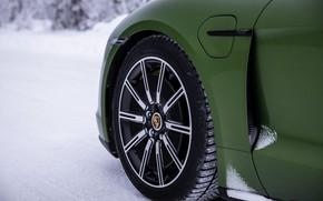 Картинка снег, колесо, Porsche, зелёный, 2020, Taycan, Taycan 4S
