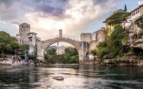 Картинка мост, город, река, здания, дома, Босния и Герцеговина, Мостар, Неретва