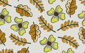 Картинка листья, цветы, ветки, фон, текстура