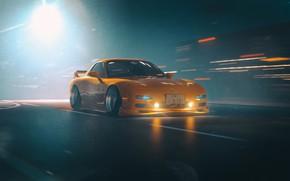 Картинка Авто, Желтый, Машина, Mazda, RX-7, Concept Art, Mazda RX-7, Японец, Science Fiction, Khyzyl Saleem, by …