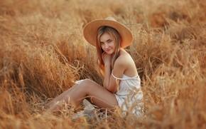 Картинка поле, лето, взгляд, девушка, поза, улыбка, настроение, шляпа, колосья, Даша, Dmitry Arhar