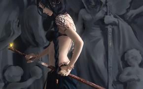 Картинка девушка, меч, Ghost Blade, Wlop