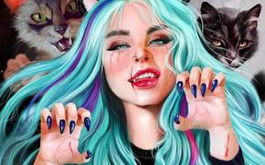 Картинка Девушка, Рисунок, Взгляд, Кошка, Кошки, Стиль, Лицо, Girl, Клыки, Когти, Арт, Art, Style, Фантастика, Cat, …
