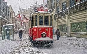 Картинка City, Snowfall, Tramcar