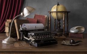 Картинка книги, лампа, трубка, ракушка, очки, печатная машинка, натюрморт, глобус