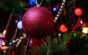 Картинка праздник, игрушки, елка, шар, боке