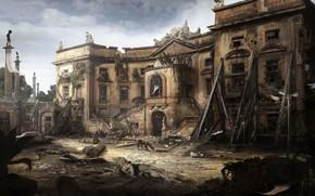 Картинка собака, разрушения, особняк, ruins, valguarnera
