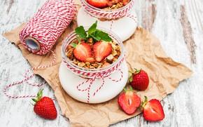 Картинка стол, завтрак, клубника, баночки, йогурт