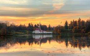 Картинка осень, лес, небо, река, вечер, Ed Gordeev, Гордеев Эдуард