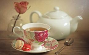 Картинка чай, роза, чашка, заварник, макарун