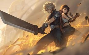 Картинка Мечи, Final Fantasy VII, Cloud Strife, Tifa Lockhart, Remake, Final Fantasy VII Remake