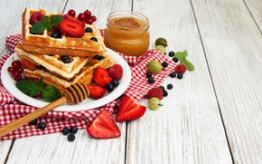 Картинка ягоды, мед, вафли, Olena Rudo