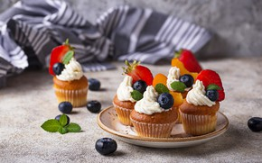 Картинка ягоды, черника, клубника, крем, десерт, кексы