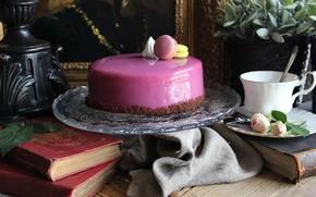 Картинка книги, розы, торт, глазурь, макаруны