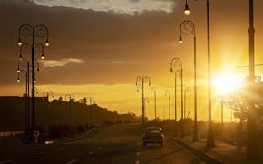 Картинка дорога, car, закат, lights, Солнце, фонари, автомобиль, road, sunset, sun