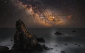 Картинка море, ночь, скалы, звезы