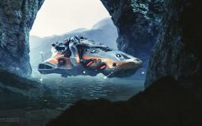 Картинка вода, скалы, транспорт, водоём, Squid Pirate