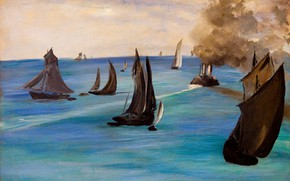 Картинка море, лодки, парус, морской пейзаж