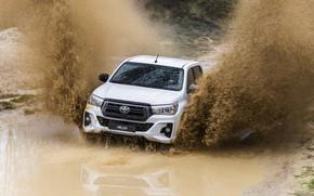 Картинка белый, вода, брызги, грязь, Toyota, пикап, Hilux, Special Edition, 2019