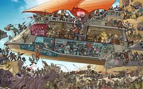 Картинка Star Wars, Стрельба, Битва, Fantasy, Art, Фантастика, Атака, Персонажи, Баржа, Comic Art, Line Art, LineArt, …