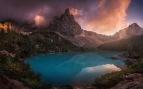 Картинка лес, небо, облака, горы, озеро, скалы