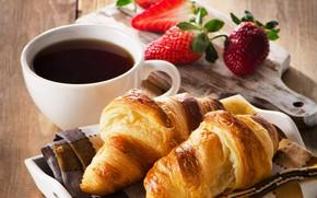 Картинка кофе, клубника, coffee, круассаны, croissant, baking