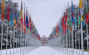 Картинка Швейцария, флаги, Женева, Дворец Наций ООН