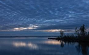 Картинка облака, озеро, вечер