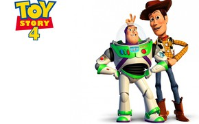 Картинка animation, movie, toys, film, friends, white background, Toy Story, simple background, joke, Woody, Buzz Lightyear, …