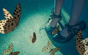 Картинка бабочки, туфли, девочка