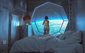 Картинка взгляд, девушка, космос, фантастика, спина, планета, кровать, арт