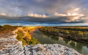 Картинка пейзаж, тучи, природа, река, красота, панорама