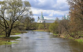 Картинка пейзаж, река, весна, церковь