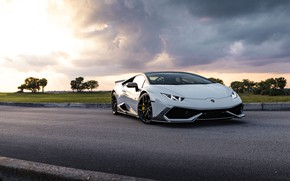 Картинка Lamborghini, Clouds, Sunset, Evening, Silver, Performante, Huracan