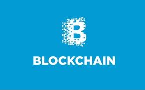 Обои голубой, лого, fon, blockchain, блокчейн