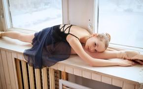 Картинка балерина, шпагат, окно, Lili Tammi