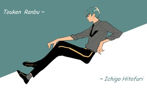 Картинка галстук, рубашка, парень, голубые волосы, закрытые глаза, Touken Ranbu, Ichigo Hitofuri, Танец Мечей, by Syubare