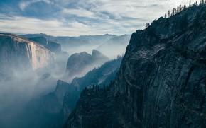 Картинка небо, облака, деревья, горы, природа, туман, скалы