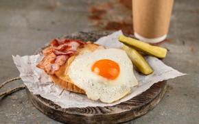 Картинка яйцо, огурец, булка, бекон