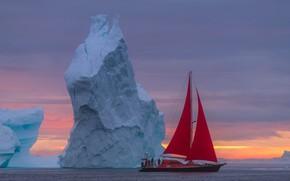 Картинка море, пейзаж, лодка, парусник, утро, айсберг, алые паруса, Гренландия