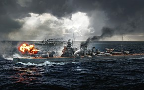 Картинка Океан, Море, Корабль, Корабли, Крейсер, Ocean, Sea, Морской бой, Cruiser, Destroyer, Ship, World of Warships, …