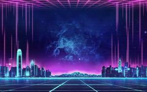Картинка Музыка, Город, Фон, City, 80s, Neon, 80's, Synth, Retrowave, Synthwave, New Retro Wave, Futuresynth, Синтвейв, …