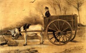 Картинка птицы, повозка, парень, осёл, Винсент ван Гог, Donkey and Cart