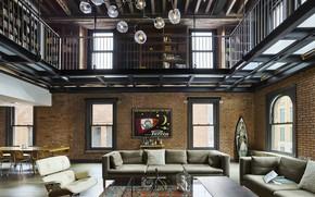 Картинка стиль, интерьер, New York, гостиная, лофт