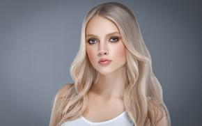 Картинка портрет, красота, поза, hairstyle, взгляд, mode, ресницы, лицо, волосы, белое платье, Blonde, губы, Ryabusjkina Irina, …
