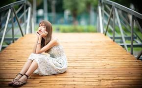 Картинка девушка, мост, азиатка