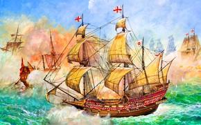 Картинка Галеон, HMS Revenge, 46 пушечный, Фрэнсиса Дрейка, Морское сражение