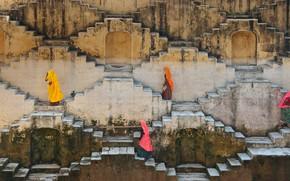Картинка женщины, Индия, лестница, Джайпур, Раджастхан, Амбер-Форт